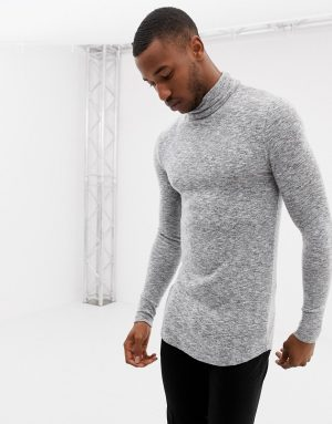 ASOS DESIGN muscle fit longline long sleeve t-shirt with roll neck and curved hem in brushed fabric in gray - Gray