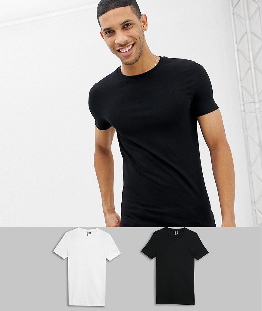 5b3af33d0b6 ASOS DESIGN muscle fit crew neck t-shirt with stretch 2 pack multipack  saving – Multi