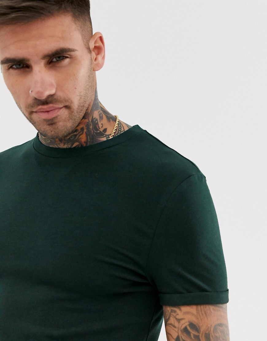 1ce1f6eda ASOS DESIGN muscle fit crew neck t-shirt with stretch and roll sleeve in  green – Green