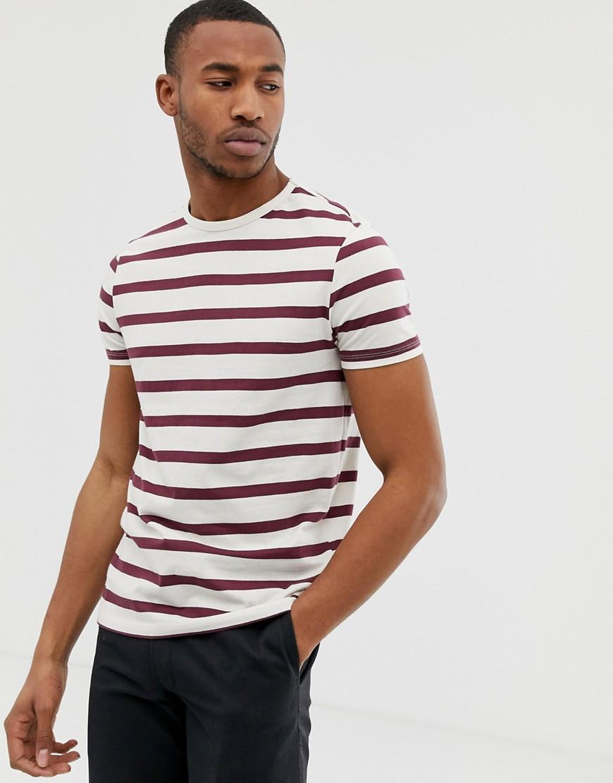 895c10c6ebb ASOS DESIGN organic cotton stripe t-shirt in off white and burgundy – Multi