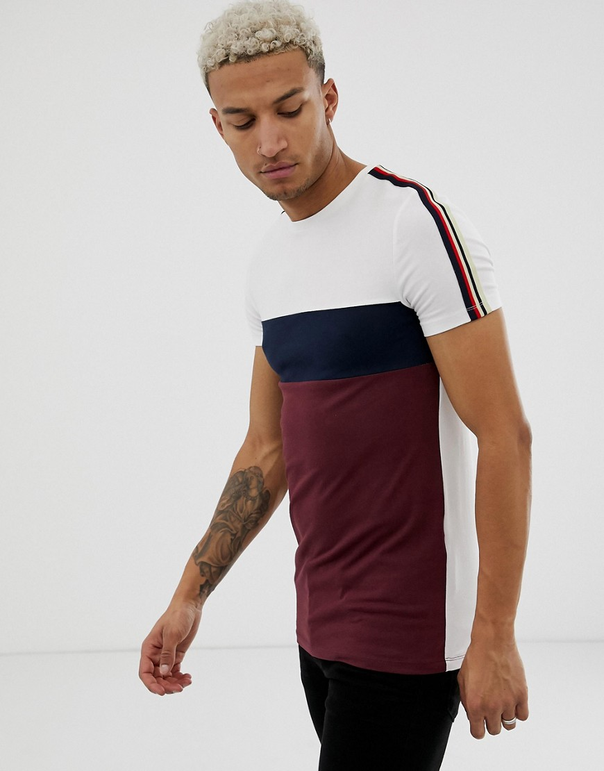 24b57d8c ASOS DESIGN organic muscle fit longline t-shirt with contrast taping in  burgundy - Red