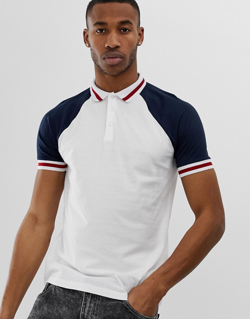 64e981e5c ASOS DESIGN organic raglan polo shirt with contrast sleeves and tipping in  white – White