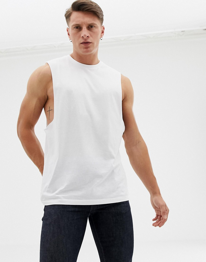 619c927f ASOS DESIGN organic relaxed sleeveless t-shirt with dropped armhole in  white – White