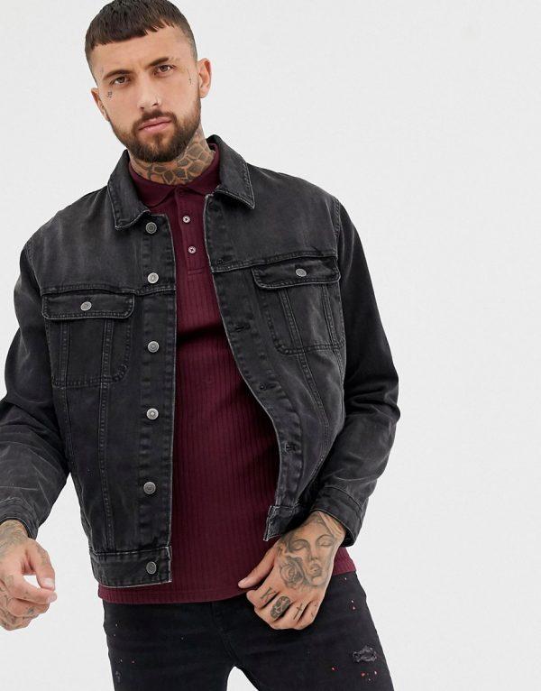 ASOS DESIGN oversized denim jacket in washed black - Black