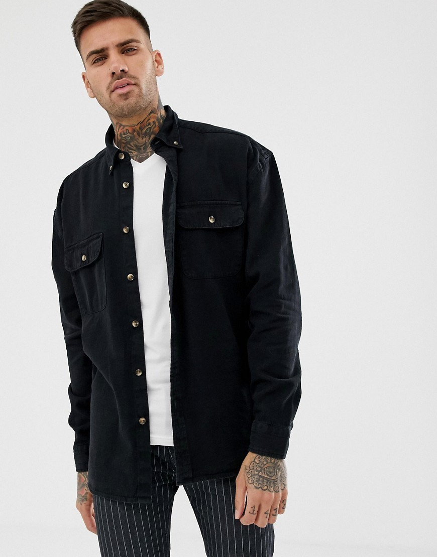 30cd98414b7 ASOS DESIGN oversized denim shirt in black with double pockets in black –  Black