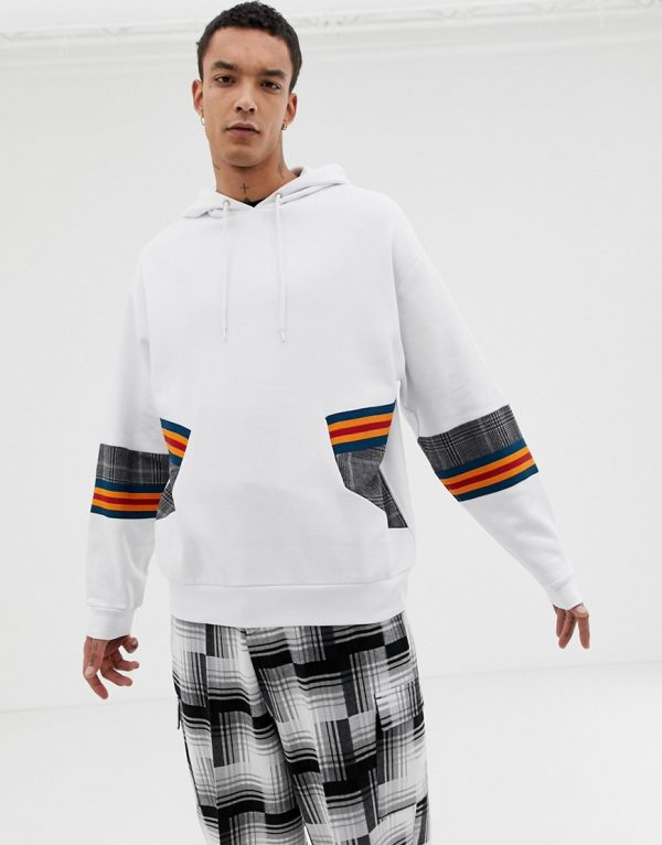 ASOS DESIGN oversized hoodie with check and rib panelling in white - White