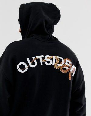 ASOS DESIGN oversized hoodie with snake print in black - Black