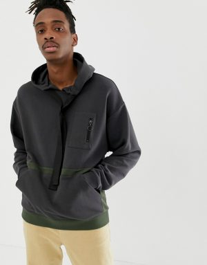 ASOS DESIGN oversized hoodie with utility details - Black