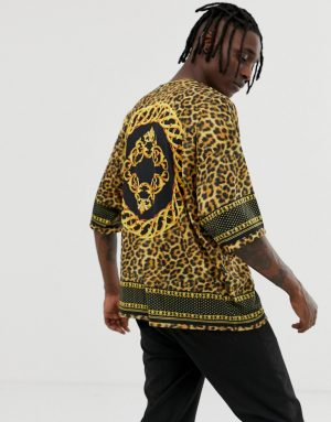 ASOS DESIGN oversized leopard print t-shirt with border and back print - Multi