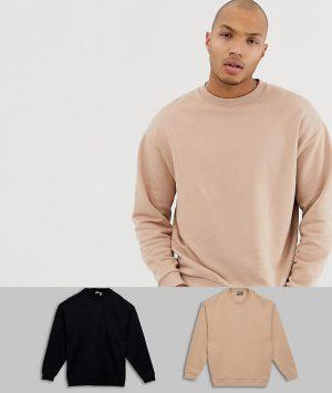 ASOS DESIGN oversized sweatshirt 2 pack in black/beige - Multi