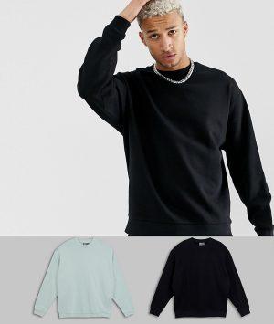 ASOS DESIGN oversized sweatshirt 2 pack in black/gray - Multi