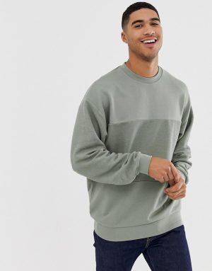 ASOS DESIGN oversized sweatshirt in gray with reverse panel - Gray