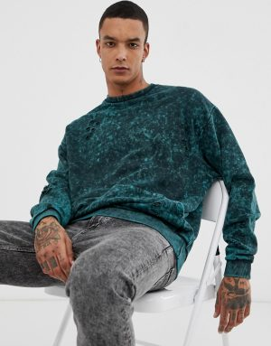ASOS DESIGN oversized sweatshirt with nibbling in green acid wash - Green