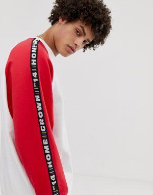 ASOS DESIGN oversized sweatshirt with taping in white - White