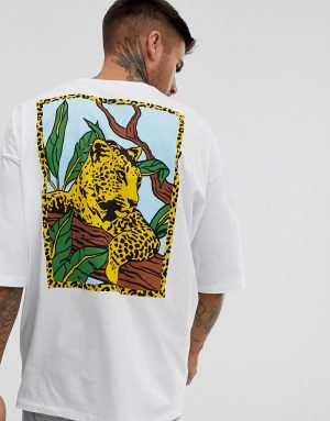 ASOS DESIGN oversized t-shirt with back leopard print - White