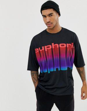 ASOS DESIGN oversized t-shirt with euphoria print - Black