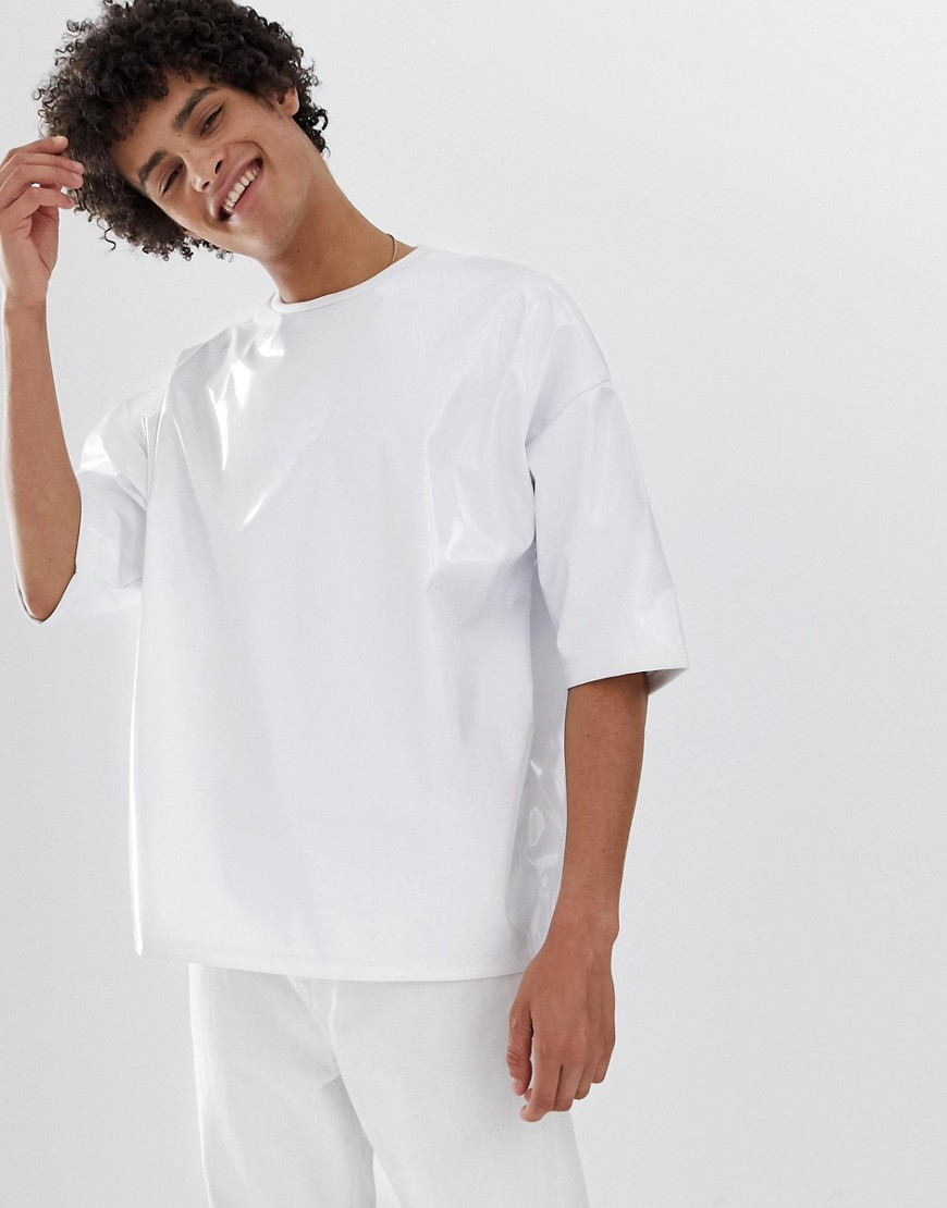 06fe4b88 ASOS DESIGN oversized t-shirt with half sleeve in vinyl fabric in white –  White