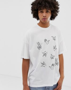 ASOS DESIGN oversized t-shirt with hand embroidery - White