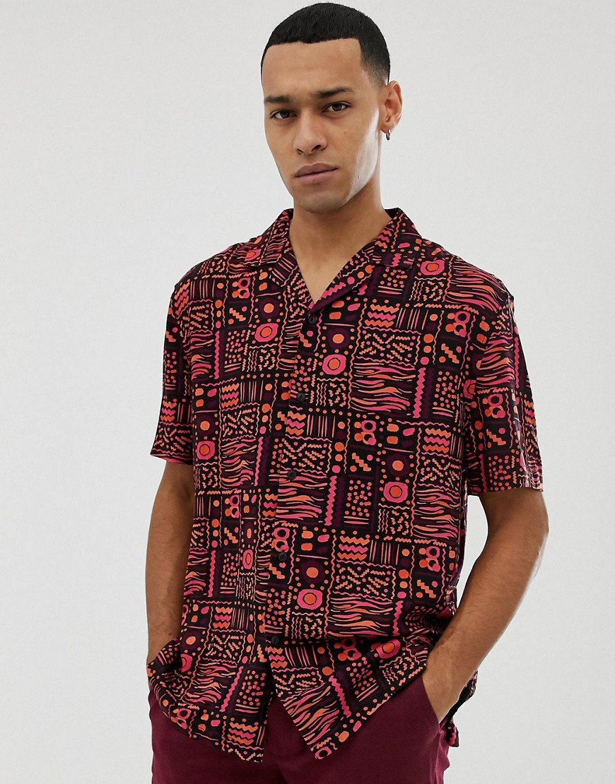 3e87454a8 ASOS DESIGN oversized vintage print shirt with revere collar in pink and  orange - Black