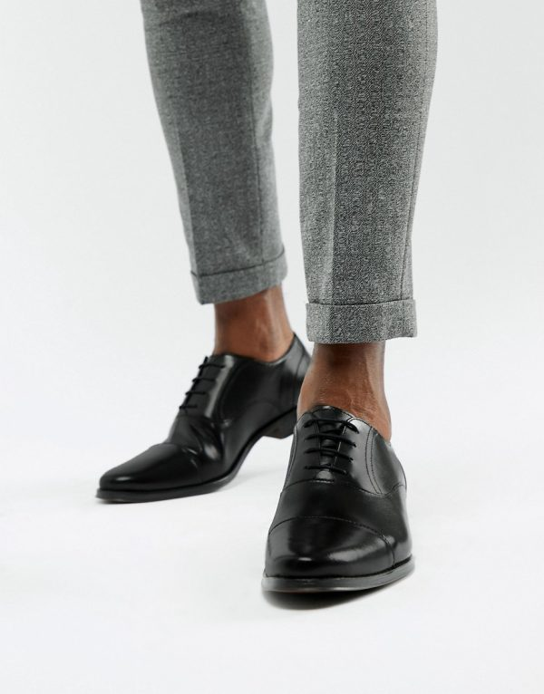 ASOS DESIGN oxford shoes in black leather with toe cap - Black