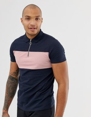 ASOS DESIGN pique polo shirt with zip neck and contrast panel in navy - Navy