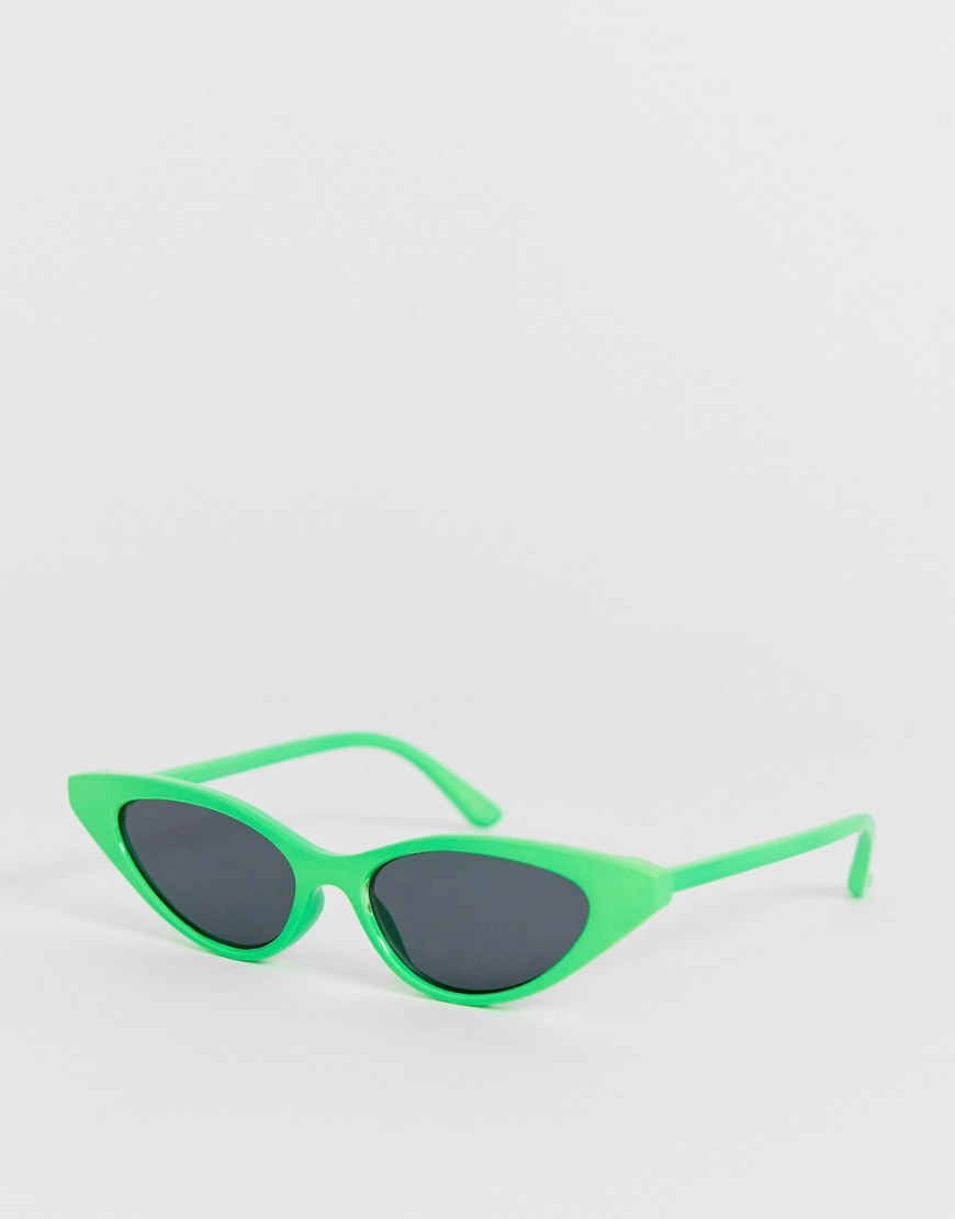 d906378a8eed ASOS DESIGN plastic cat eye sunglasses in neon green with smoke lens –  Green