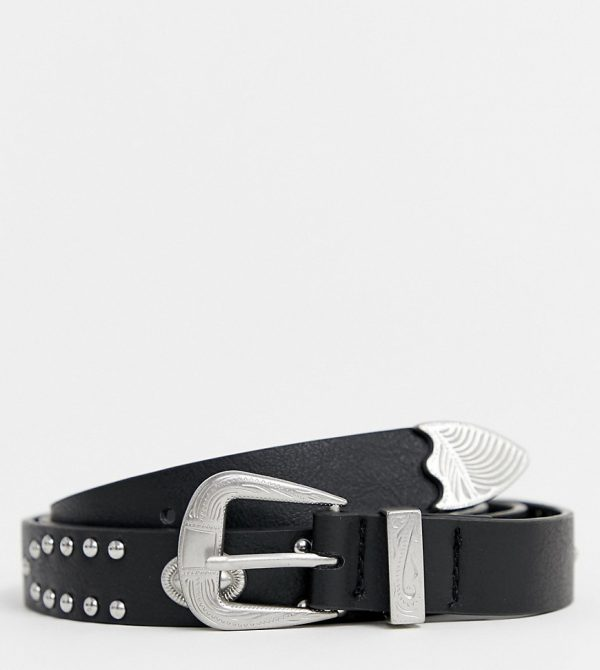 ASOS DESIGN plus faux leather slim belt in black with western buckle and studding - Black