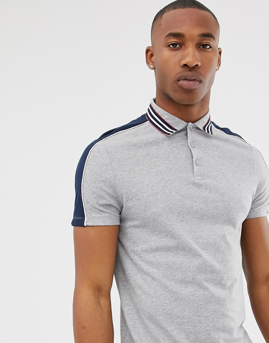 dbc17d9ed2f ASOS DESIGN polo shirt with contrast shoulder panels and collar taping in  gray – Gray | The Fashionisto