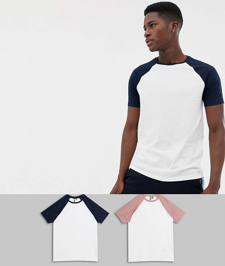 8074f0ba ASOS DESIGN raglan t-shirt with crew neck with contrast sleeves 2 pack  multipack saving – Multi