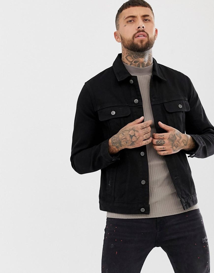 6d777f7737413 ASOS DESIGN regular denim jacket in black – Black | The Fashionisto