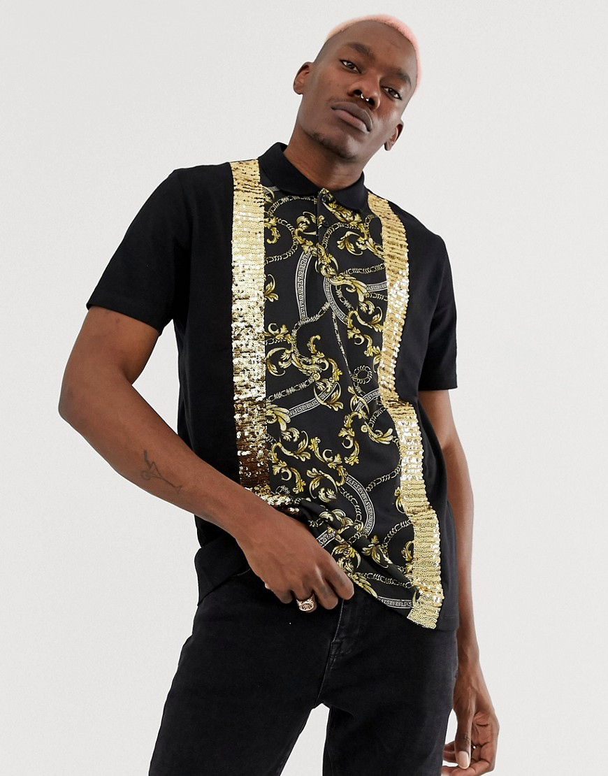 Asos Design Relaxed Fit Polo With Print And Sequins Black The