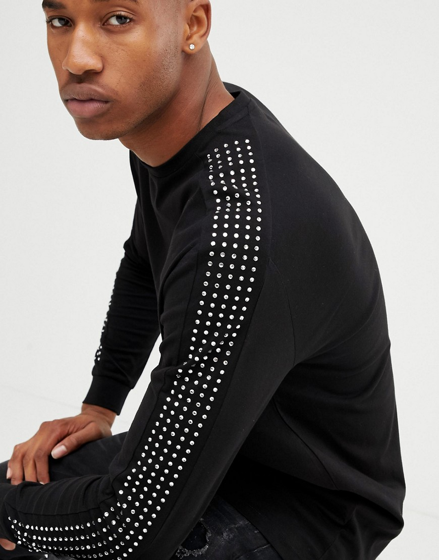 4132757a5c325 ASOS DESIGN relaxed longline long sleeve t-shirt with embellished gems in  black – Black