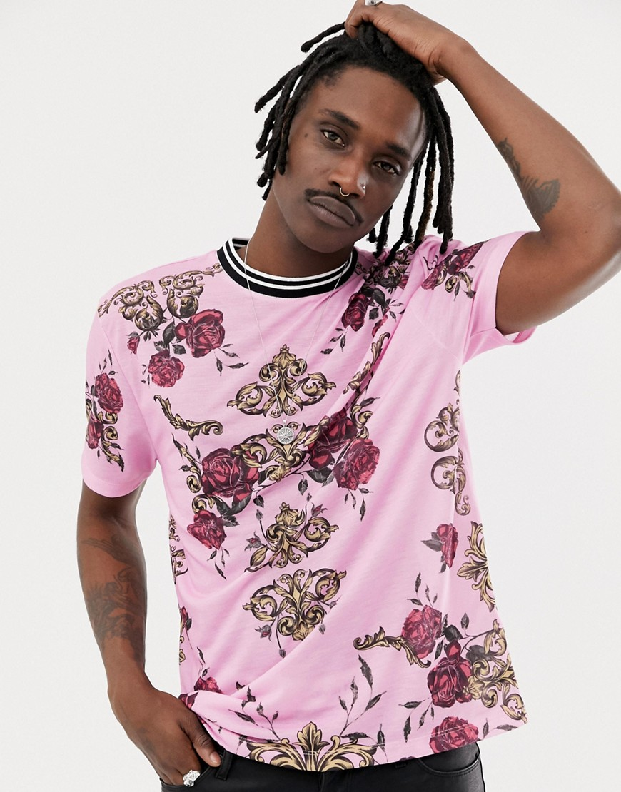 773f6b80 ASOS DESIGN relaxed t-shirt with all over baroque and rose print – Pink |  The Fashionisto