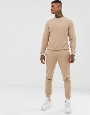 ASOS DESIGN ribbed tracksuit sweatshirt / skinny sweatpants in beige - Beige