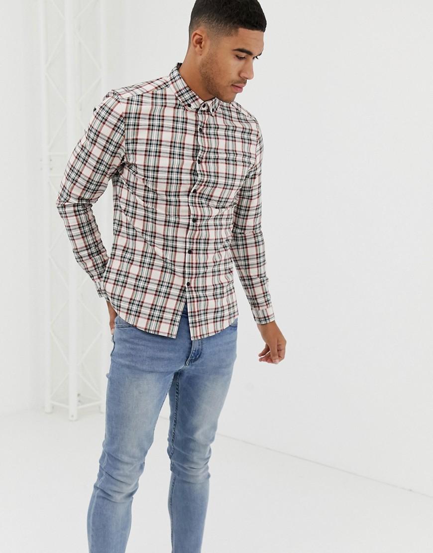51e722763 ASOS DESIGN skinny fit check shirt in ecru – Beige   The Fashionisto