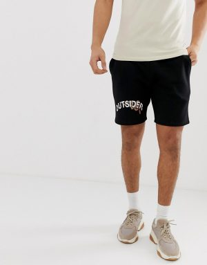 ASOS DESIGN skinny jersey shorts with snake print in black - Black