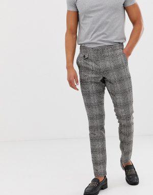 ASOS DESIGN skinny pants in black nepp check with adjustable waist - Black