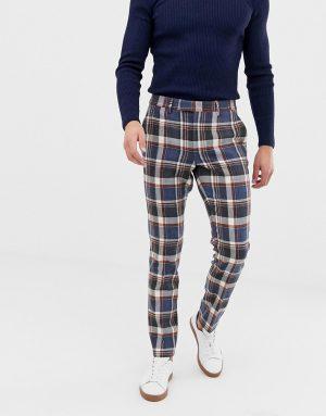 ASOS DESIGN skinny smart pants in navy wool mix check - Blue