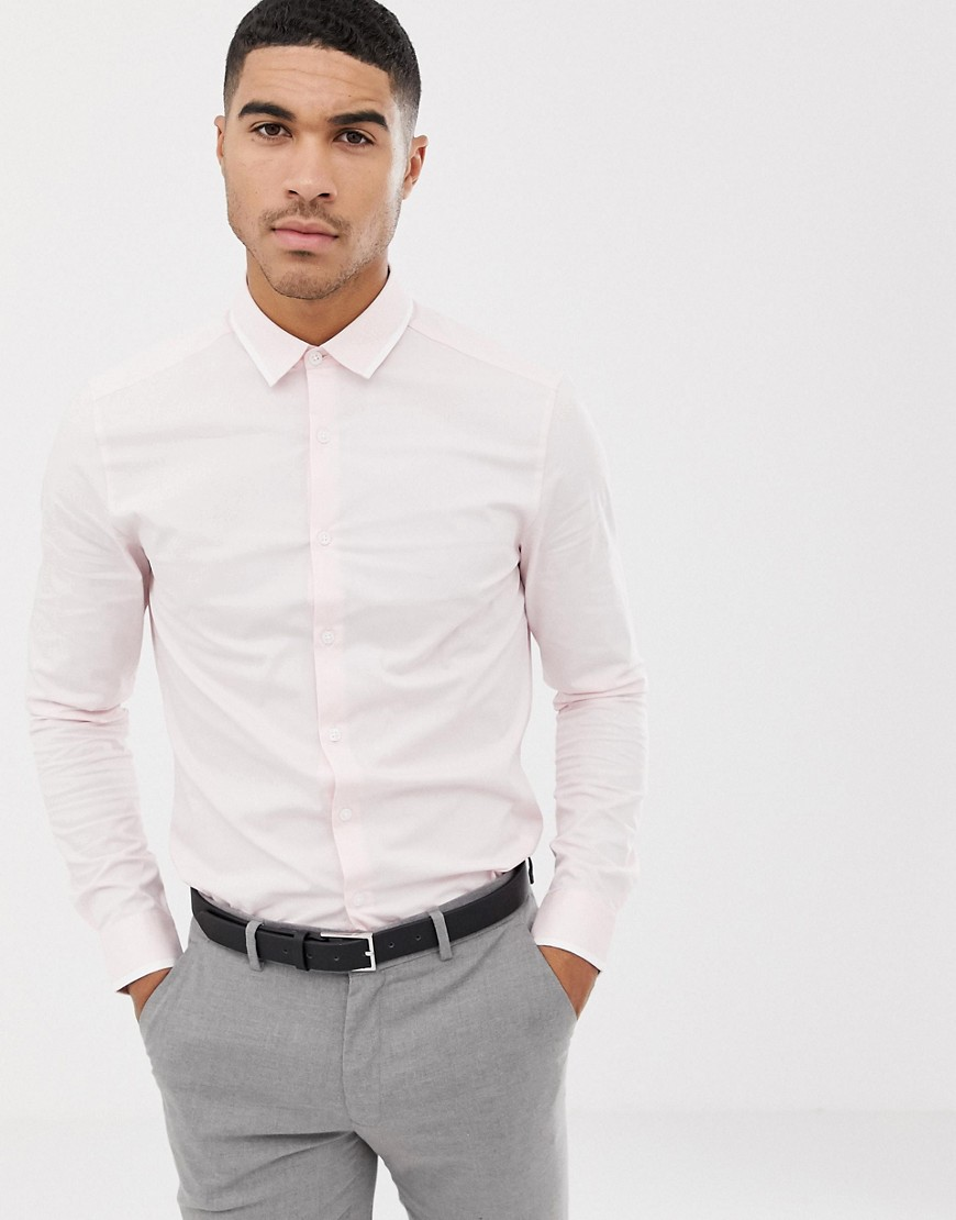 9c8c3de4cb5ac ASOS DESIGN skinny work shirt with contrast white tipped collar – Pink