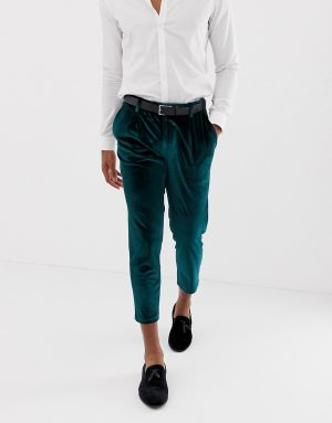 ASOS DESIGN slim crop smart pants in green velvet - Green