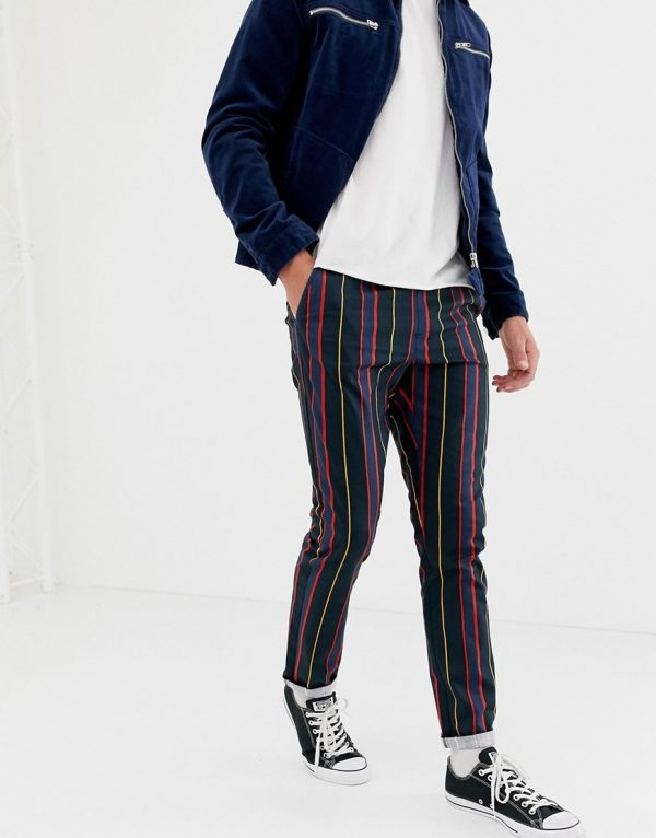 ASOS DESIGN slim pants with elasticated waist in collegiate stripe - Green