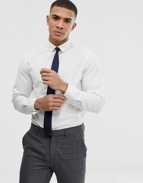 ASOS DESIGN smart stretch slim fit oxford shirt with double cuff - White