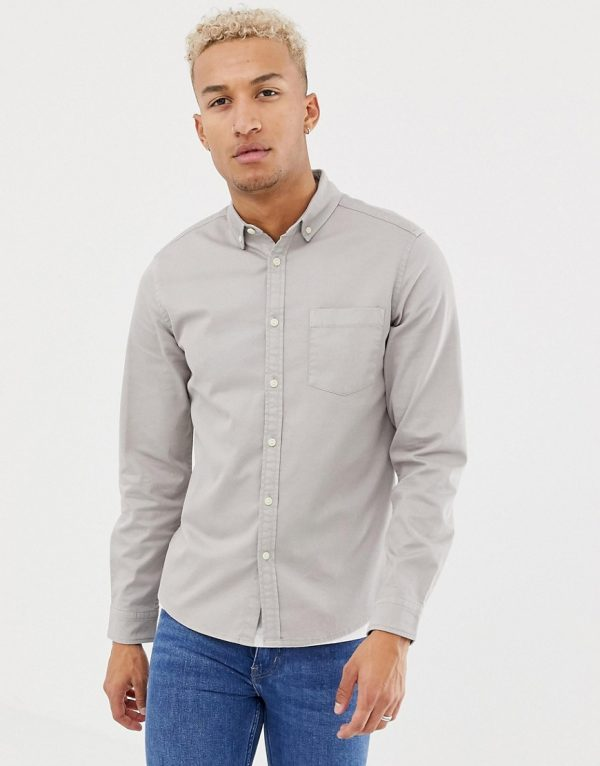 ASOS DESIGN stretch slim denim shirt in gray - Gray