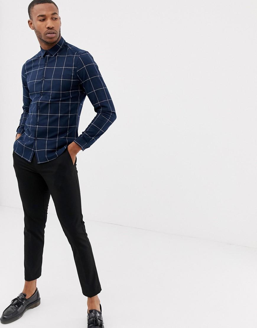 8a734c93e ASOS DESIGN stretch slim windowpane check work shirt – Navy   The  Fashionisto