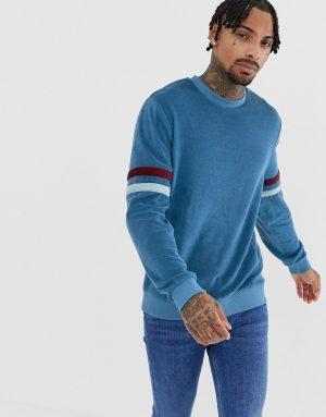 ASOS DESIGN sweatshirt in towelling with contrast sleeve panels - Red