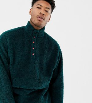 ASOS DESIGN tall oversized sweatshirt with popper neck in borg - Green