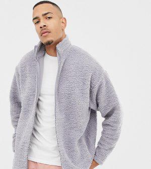 ASOS DESIGN tall oversized track jacket in gray borg - Gray