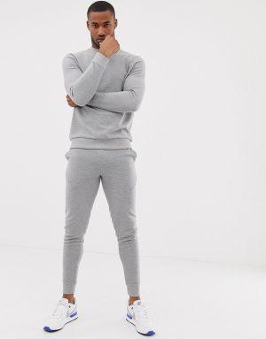 ASOS DESIGN tracksuit sweatshirt/skinny sweatpants in gray ribbed fabric - Gray