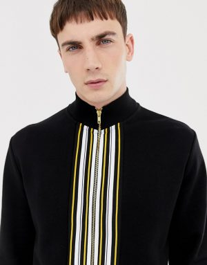 ASOS DESIGN two-piece track jacket with striped taping - Black