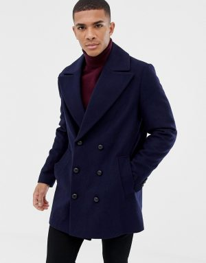 ASOS DESIGN wool mix double breasted jacket in navy - Navy